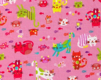 """End of Bolt - 15"""" Cut - Happy Cats - PINK - Kitty, Mice, Paw Print, Fish - Japanese Imported"""