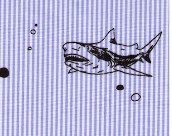 HALF YARD - Shark Business on Blue Pinstripes - Cotton Poplin - Japanese Import Fabric