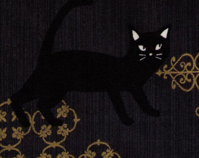 HALF YARD - Neko II - Cats Hiding and Playing on Grey w/ Gold Metallic Accents - Medallion, Ornate - 3170-12E - Quilt Gate