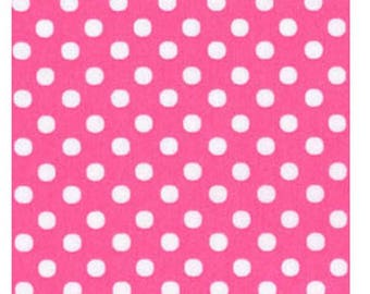 HALF YARD - Lecien - Color Basic - 4506-P  White Medium Dots on PINK - Japanese Import Fabric