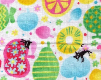 HALF YARD - Coco Land Cats, Flowers and Fruits - Double Gauze 10014-2 cocoland - Orange, Pear, Summer, Green, Pink  - Japanese Import Fabric