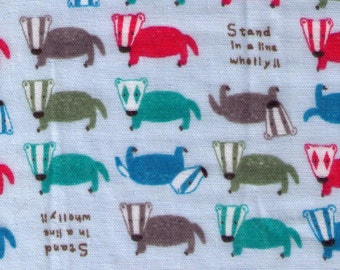 Half Yard - BADGERS on BLUE - Kobayashi - Cerise Mignonne - 3713-C Japanese Import Double Gauze - Red, Brown Honey Green Badger Light Blue