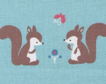 HALF YARD - Puti De Pome - Squirrel Friends - Mushroom, Flower, Bird, Butterfly - 85/15 Cotton/Linen Blend - Kiyohara - Japanese Import
