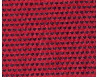 HALF YARD Creative Thursday - The Tinies - JG-50100-102D - Charcoal Hearts on Orange Red - 85/15 Cotton Linen Blend Canvas