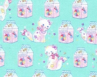 HALF YARD - Fancy Pop - Kokka - Twinkle Cat - Aqua 21060-2A - Cotton Sheeting - Kitten, Kitty, Milk Carton, Candy, Jewelry, Bow, Lolita