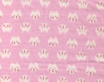 HALF YARD Kobayashi - Cat faces on PINK Double Gauze - Rows of Kitty Heads - Cotton Double Gauze - Kokka Japanese Import