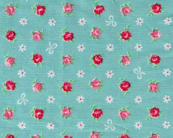 HALF YARD - Mini Red and Pink Rose Buds with White Bows on Sage Green Blue  8787-13C - Flowers, Lolita, Kawaii - Cosmo Textiles, Japanese