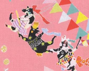 HALF YARD - Sas and Yosh - Circus of Wonders on Pink 50920-1A - Ballerina, Cow, Tiger, Acrobat - Kokka - Cotton Sheeting