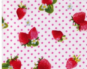 HALF YARD - Kawaii Strawberries on WHITE with Pink Polka Dots 41309-1A -  White Flowers, Sweets, Daisies, Leaves - Cosmo Textile Imported