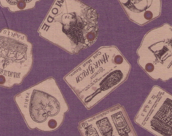Sale (30) HALF YARD Yuwa - Antique Tags on PURPLE - Japanese Import - Luggage Paris Bonjour France - Live Life Collection Similar to Koseki