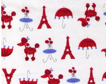 HALF YARD  Yuwa - Poodle, Paris Cafe and Eiffel Tower on WHITE - T0C1701  Japanese