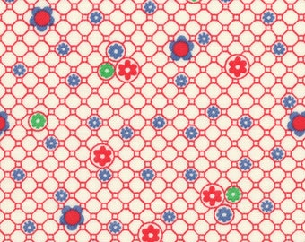 HALF YARD - Small Flower and Circle RED 31285-30 - Retro 30s Child Smile Collection Lecien - Daisy, Dot, Flower
