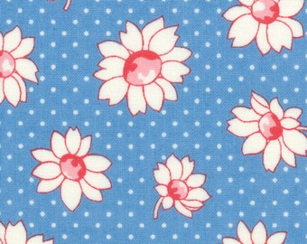 HALF YARD - Flowers and Polka Dots on BLUE 31281-70 - Retro 30s Child Smile Collection Lecien - Red, Blue, Yellow, Daisy, Cherry, Daisies,