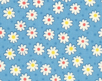 HALF YARD - Flowers and Dots on BLUE 31284-70 - Retro 30s Child Smile Collection Lecien - Daisy, Dot, Flower