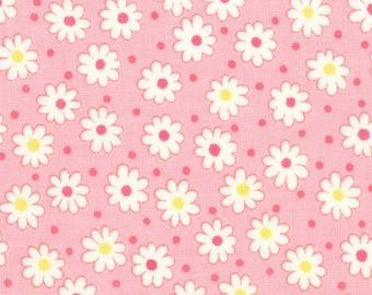HALF YARD - Flowers and Dots on PINK 31284-20 - Retro 30s Child Smile Collection Lecien - Daisy, Dot, Flower