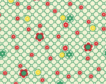 HALF YARD - Small Flower and Circle GREEN 31285-60 - Retro 30s Child Smile Collection Lecien - Daisy, Dot, Flower