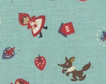 HALF YARD Kokka - Little Red Riding Hood - Blue - 85/15 Cotton/Linen Blend - Japanese Import
