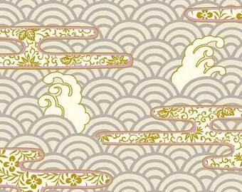 HALF YARD Quilt Gate - Hyakka Ryoran Modern Movement 2 - Silver Waves, Floral w/ Metallic Gold - HR3230-13A - Seigaiha -Traditional Japanese