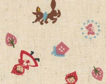 HALF YARD Kokka - Red Riding Hood - Natural - 85/15 Cotton/Linen Blend - Japanese Import