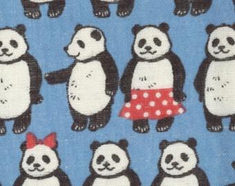 HALF YARD Kokka - Pandas on Blue by Trefle  - Cotton Double Gauze - Japanese Import - 41200-201C