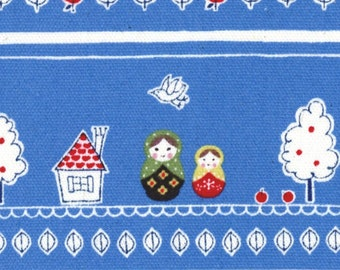 HALF YARD - Scandanavian Stripe - Blue - Matryoshka, Apple - Cotton Oxford - Kokka - Japanese Import Fabric