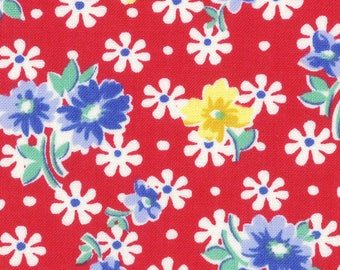Sale HALF YARD Lecien - Flowers on RED - 31524-30  Old New 30s Collection Spring 2017 - Atsuko Matsuyama - Japanese