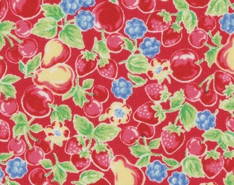 HALF YARD Lecien - Orchard Kitchen 2017 - Basket of Fruits on RED 31738-30 -  Apple Cherry Strawberry Raspberry - Japanese Import