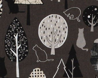 HALF YARD Lecien - Lecre Fall 2017 - Cats lounging in the Trees Grey/Black - 40861-90 - Cotton/Linen Blend - Japanese Import
