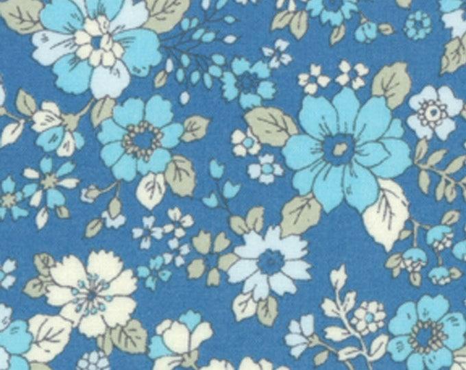 HALF YARD Lecien - Memoire a Paris 2017 - Floral on BLUE 40740-70 - Cotton Lawn - Flowers - Japanese Import