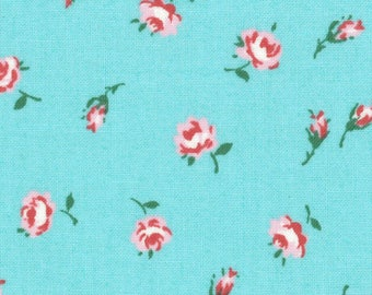 Sale HALF YARD Lecien - Floral Blooms and Buds on AQUA - 31526-70 Old New 30s Collection Spring 2017 - Atsuko Matsuyama - Japanese