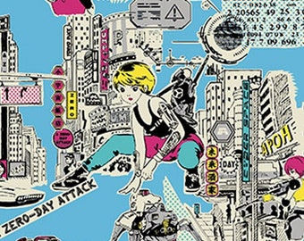 HALF Yard - Cosmo - Funny Face - Cyber City Girl in Blue - 01812-2C - Cotton Linen Blend - Japanese Import