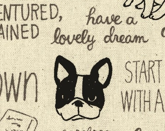 "End of Bolt - 19"" Cut - Kokka - French Bull Dog Thoughts on Natural - Ecole Simple - Cotton Canvas - Japanese Import - 43300-301A"