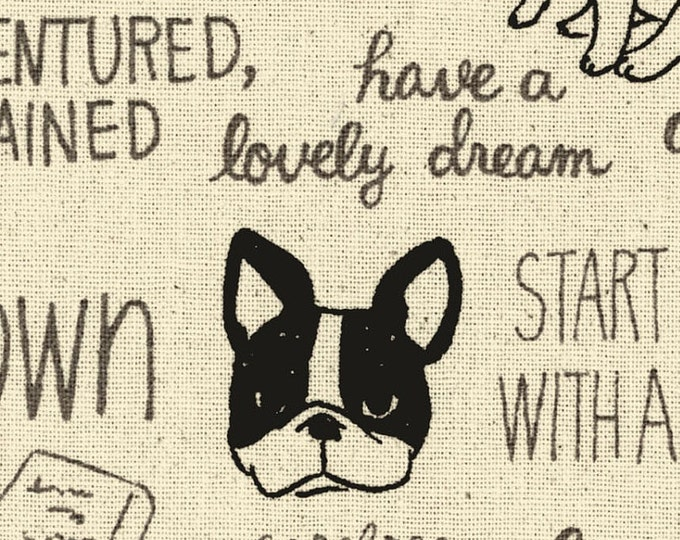HALF YARD Kokka - French Bull Dog Thoughts on Natural - Ecole Simple - Cotton Canvas - Japanese Import - 43300-301A