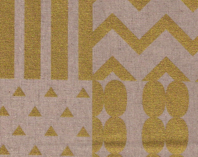 HALF YARD Kokka Echino Spring 2016 - Pieces on Natural JG-96500-500B - Metallic Gold on Natural - 45/55 Cotton Linen Blend