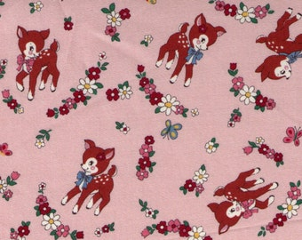 HALF YARD Yuwa - Little Brown Deer and Flowers on PINK - 822184 E Atsuko Matsuyama 30s collection - Daisy Bow Butterfly - Japanese Import