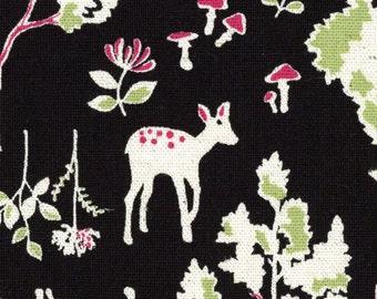HALF YARD Kokka - Wonderland - Forest - BLACK - 85/15 Cotton/Linen Blend - Japanese Import - 43000-301E