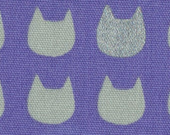 HALF YARD Lecien - Marks & Colors Collection - Cat Silhouette Grey on Purple w Metallic Silver Accents 40869-110 - Cotton Oxford - Japanese