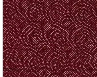HALF YARD Same Komon (Shark Skin)  on Dark RED - Random Wave Dots - 88220-81 Traditional Geometric Japanese Design - Sea Wave Fans
