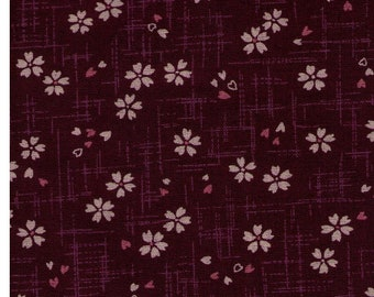 HALF YARD - Sakura and Pink Petals on Purple Plum - 88227-27 - Cotton Sheeting - Traditional Geometric Cherry Blossom Japanese