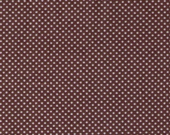 Lecien - Color Basic - 4503-C White Ultra Mini Dots on Brown - Japanese Import Fabric