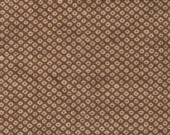HALF YARD Kanoko on Mustard Khaki - Broadweave Cotton - Loose Weave 88225-1-2 - Traditional Japanese design -  Shibori Japanese Fabric