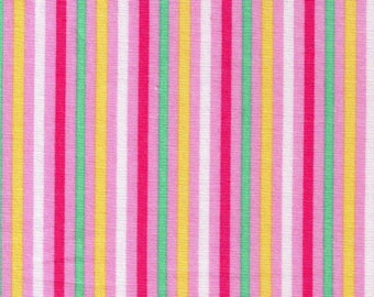 HALF YARD Cosmo Textile - Pink Multi-Color Stripes 8876-417 - Yellow, White, Dark Pink, Green  - Cotton Sheeting - Japan Import Fabric