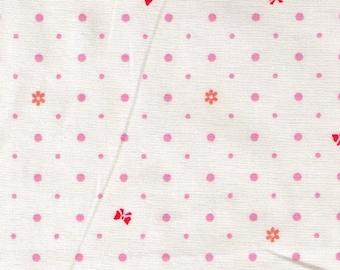 HALF YARD Yuwa - Tiny Bows and Flowers with Polka Dots on Ivory 826483-C - Pink, Red and Orange - Atsuko Matsuyama - Japanese Import Fabric
