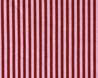 HALF YARD Cosmo Textile - Pink and Brown Stripes 8876-413 - Cotton Sheeting - Japan Import Fabric