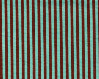 HALF YARD Cosmo Textile - Mint Green and Brown Stripes 8876-414 - Mint Chocolate Chip - Cotton Sheeting - Japan Import Fabric