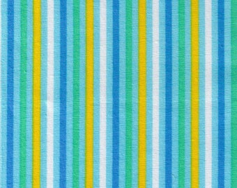 HALF YARD Cosmo Textile - Blue Multi-Color Stripes 8876-416 - Yellow, White, Dark Blue, Green  - Cotton Sheeting - Japan Import Fabric