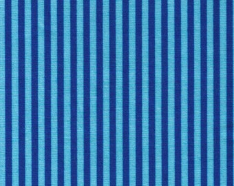 HALF YARD Cosmo Textile - Blue and Dark Blue Stripes 8876-411 - Cotton Sheeting - Japan Import Fabric