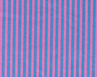 HALF YARD Cosmo Textile - Pink and Blue Stripes 8876-412 - Cotton Sheeting - Japan Import Fabric