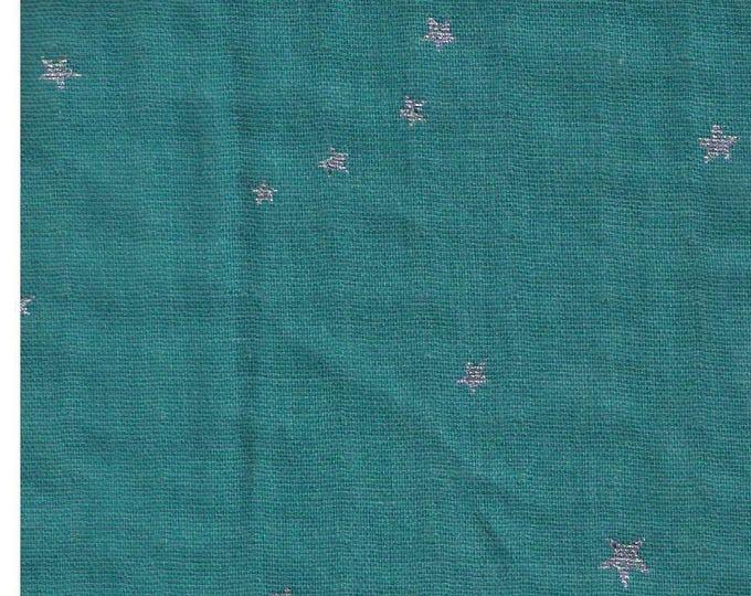 Half Yard - Project By Cotton - Silver Metallic Stars on SEAFOAM - KTS6318N - Japanese Import Double Gauze - Kobayashi