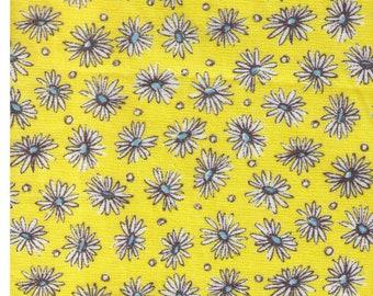 HALF YARD Yuwa - White Daisies and Yellow with Blue Centers - Suzuko Koseki SZ816971-B  - Japanese Import Fabric